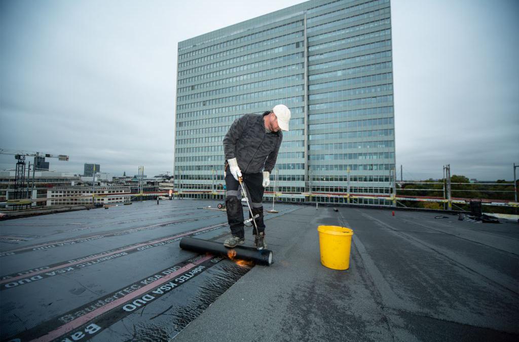 Schauspielhaus Düsseldorf 5000qm BAUDER Bitumenabdichtung / extensive Dachbegrünung